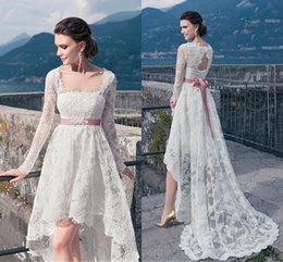 Wholesale Low Back Asymmetrical Wedding Dress - Vintage Full Lace High Low Wedding Dresses 2016 With Long Sleeves Sexy Backless Sash Front Short Back Long Cheap Summer Beach Bridal Gowns