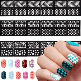Wholesale Easy Nail Art Stamp - Easy Reusable Stamping Tool DIY Hollowed Out Work Nail Art Template Stickers Stamp Stencil Guide