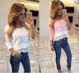 Wholesale Top 15 Sexy Woman - 15% off! Women's Lace T shirt 2016 Sexy Tops Shirt Fashion Lace stitching of 7 minutes of sleeve T-shirt girl fashion casual T shirt 1 pcs