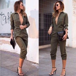 Wholesale Exotic Fashion - 2017 Fashion Street Clubwear jumpsuit Front Button Halter Catsuit Exotic Clothing Women Slim jumpsuit Ladies Fashion sexy Casual long Romper