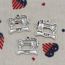 Wholesale sewing machine silver charms - 130pcs Charms vintage singer treadle sewing machine 20*17mm Pendant,Vintage Tibetan Silver,For DIY Necklace & Bracelets Jewelry Accessories