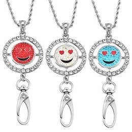 Wholesale Rhinestone Id Badge Holders - Round Inlaid Rhinestone Name Tag Holder Emoji Interchangeable Snap Button Charm ID Badge Holder Necklace Lanyard N175S