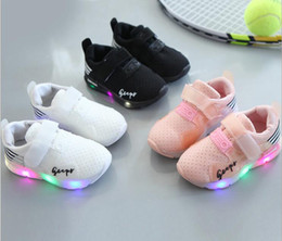 Wholesale Toddler White Canvas Shoes Wholesale - New Toddler Fashion Children Shoes With Light Led Kids Shoes Luminous Glowing Sneakers Baby Boys Girls LED Shoes