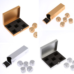 Wholesale Portable Poker - 5 Dices Set Golden Silver Color Solid Dominoes Metal Dice Aluminium Alloy Poker Game Portable Dice Poker With Box Party High Quality