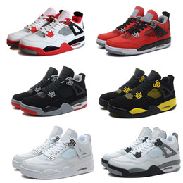 Wholesale High Leather Boot - High Quality Air Retro 4 Man Basketball Shoes Authentic Retro IV Boots White Cement Fire Red Bred Bulls Mens Sport Shoes Free Shipping
