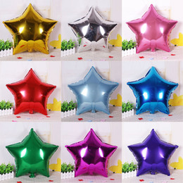 Wholesale Red Ballons - 50 PCS big 10 inch Five-pointed star luminum foil balloon wedding birthday party wedding Market hotel supplies air ballons