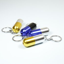 Wholesale Capsule Shape - Key chain capsule shape Metal smoking pipe Protable SS9006 Randomly delivery