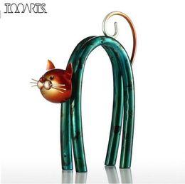 Маленькие фигурки онлайн-Tooarts кошка статуэтки железная статуэтка металлический дизайн Весна маленькая кошка современный тайл искусство украшения дома ремесло подарок для дома