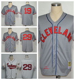 Wholesale Cleveland Indians Jersey Throwback Bob Feller Satchel Paige Baseball Jerseys Sports Game Team Color Gray Beige White