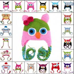 Búho de punto de los niños online-150 unids niño búho oreja solapa crochet sombrero niños ganchillo hecho a mano OWL Beanie Hat sombrero hecho a mano OWL Beanie Kids tejido a mano