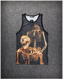 Wholesale Men Lycra Tank - Wholesale free shipping New fashion men's summer breathable mesh sport tank top creative funny skull print 3d t shirt vest casual tank tops