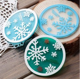 Wholesale Snowflake Cushions - Wholesale- Free shipping Snowflakes Coasters Cup Cushion Holder Non-slip heat insulation Coasters Cup Mat,50pcs lot,wholesale