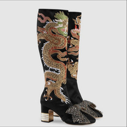 Wholesale Real Dragons - US4-10 Womens Knee Thigh High Boots Embroidered Dragon Chunky Heels Bow Rhinestones Satin Zip Chinese Style plus size Real Leather 2Colors