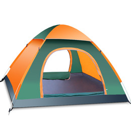 Wholesale Blue Accounting - outdoor 2 seconds Speed open four seasons tent 3-4 people Automatic Multiplayer camping Double account tent
