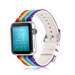 Wholesale Colorful Leather Wrist Band - Casual Style Colorful Rainbow Nylon + Leather Watch Band Strap Wrist Bracelet Watchband Replacement For Apple Watch iWatch Band 42mm 38mm