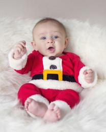 Trajes de santa claus para niños online-Al por mayor-Navidad Santa Claus Toddlers Baby Boys Cinturón Trajes de dos piezas Conjunto Disfraz