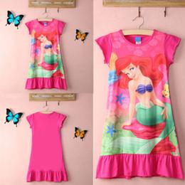 Wholesale Cotton Nighties Wholesale - New Baby Girls Kids Little Mermaid Ariel Dresses Pyjamas Nightdress Nightie Nightwear Summer Children Short sleeve Cotton Clothing GD-A06