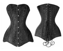 Floral corsets on-line-Sexy Elegante Plus Size Preto Desossado Aço Overbust de Alta Qualidade Linha Longa Espartilho Bustier Top