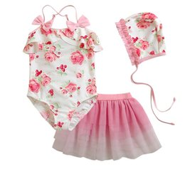 Wholesale Pink Baby Hats - Wholesale -kids Swimwear girls's girl children baby skirts tulle floral bow Suits with hat 3 pcs