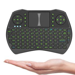 Wholesale Tv Controlers - I9 Mini Fly Air Mouse with green backlight 2.4G Wireless Keyboard Remote Controlers touchpad for PC Notebook Android TV Box