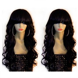 Wholesale Burgundy Long Half Wig - Natural wave Lace Front Human Hair Wigs   Full Lace Wig with Bangs 8A Unprocessed Brazilain Virgin Hair Wigs Black Women With Baby Hair