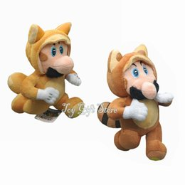 Wholesale Free Shipping Ems Super - Free Shipping EMS 2 Style Tanooki Mario & Kitsune Fox Luigi Super Mario Plush Doll Stuffed Toy 8""