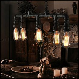 Wholesale Painting Black Pipe - 40W Traditional Classic   Vintage   Lantern   Retro Mini Style Painting Metal Steam pipe Pendant Lights Living Room LLWA133