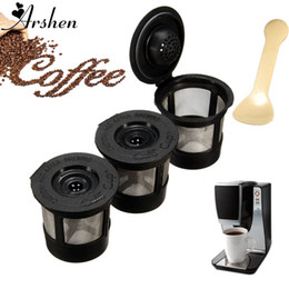 Wholesale Plastic Spoons For Coffee - Arshen 3pcs Set Plastic Coffee Filters Strainer Basket Coffee Capsule For Keurig Coffee System Reusable Filter With 1 Spoon