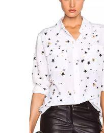 Nuevo equipo de otoño señoras 100% real estrella de seda blusas de impresión mujeres EQ sello de oro dorado estrella dos bolsillos de manga larga camisas desde fabricantes