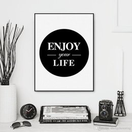 Wholesale Enjoy Life - Nordic Black White Enjoy Life Typography Quote A4 Art Print Poster Wall Picture Living Room Canvas Painting Home Decor No Frame