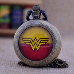 Wholesale Silver Mens Pocket Watches - New Arrivals Cartoon Wonder Woman Bronze Silver Black Quartz Pocket Watch Pendant Necklace Mens Womens Pocket & Fob Watches Gift P458