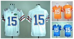 Wholesale Florida Gators Jersey Tim Tebow - Florida Gators Tim Tebow 15 Men's White Royal Blue Orange College Football Limited Football Jerseys Good Quality Size M-XXXL