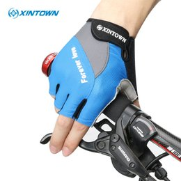 Wholesale Black Padded Sports Wear - XINTOWN Non-Slip Women Cycling Gloves Breathable Summer Half Finger Bicycle Gloves Gel Pad Men's Bike Gloves Sports Wear