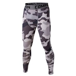Wholesale Wholesale Camo Trousers - Wholesale-Men Sports Compression Base Layer Running Camo Pants Fitness Training Gym Trousers