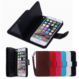 Wholesale Galaxy Note Detachable Case - Detachable 9 Credit Card Photo Frame Slots Magnet PU Leather Wallet Case For iPhone 5 5S SE 6 Plus Samsung Galaxy S6 S7 Edge Note Note5