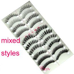 Wholesale Cheap Boxes Hair - ZH-1 mixed styles false eyelashes 10 pairs in a box false eyelashes cheap eyelashes