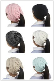 Wholesale Wholesale Girls Derby Hats - Newest 6 Colors Fashion Children CC Beanie Caps Winter Outdoor Warm Ponytail Hats Kids Girl Knitted Crochet Skull Beanies S002