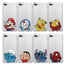 Wholesale Cartoons Smurfs - Cute Smurfs Spider-Man Superman Cartoon Transparent Soft Silicone Case Shell Back Cover for iPhone 6 S 7 Plus 5S for Samsung