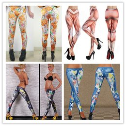 Wholesale Pantyhose Tattoo Leggings - Womens New fashion Sexy Skinny Workout Leggings Seamless Denim tattoo 3D printed leggings pantyhose Nine minutes of pants 5