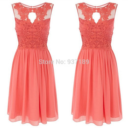 Wholesale Actual Images Dress Short - Coral Dresses Bridesmaid Knee Length Chiffon Top Lace Sheer Actual Images 2016 Summer Beach Gowns For Girls Cheap Price Wholesale