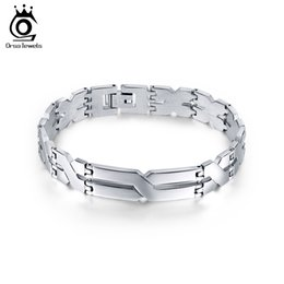 Men s stainless cuff bracelet à vendre-20,3 cm Anti-Rust Stainless Steel Hidden-Safety-Clap Bracelet en argent de couleur argent Bracelet en gros en gros Bijoux Fashion GTB16