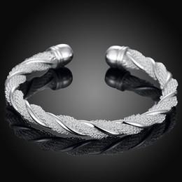 2019 bracelete da jóia da malha Pulseiras de prata pulseiras jóias mulheres pulseira pulseiras com caixa de moda jóias de malha de arame trançado forma redonda 6.5 CM BR-04