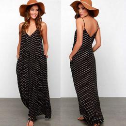 Wholesale Long Floor Length Maxi Skirt - Summer Women Bohemia Maxi Dress V-Neck Polka Dot Print Casual Dresses Chiffon Beach Dress with Pocket Sleeveless Long Spaghetti Strap Skirt