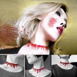 Wholesale Indian Stitch - Blood Red Stitch Choker Necklace Halloween Frankenstein Punk Rock Deathrock