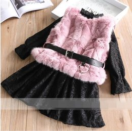 Wholesale Cashmere Outfit - 2017 Winter New Girls Clothing Sets lace Thick Dress Plush vest Outfits Children Clothes 2-7Y 319898