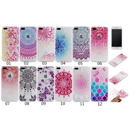 Wholesale Iphone Cover Square Silicone - For Iphone 7 Plus 6 6S SE 5 5S Flower Mandala Soft TPU Case Fashion Skin Sunflower Gel Henna Paisley Clear Colorful Square Cover Skin