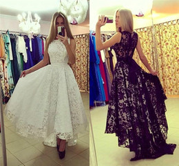 Wholesale High Empire Waist Evening Gowns - Modest High Low Lace Evening Dresses Empire Waist A-Line Custom Made Sleeveless 2018 Sexy Party Prom Dresses Pageant Gowns Robe De Soiree