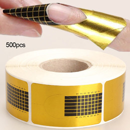 Wholesale nail styles stickers - New 100Pcs 500Pcs Roll Professional Golden Nail Forms Nail Art Tip Acrylic Curve UV Nails Gel Extension Guide Manicure Styling Sticker Tools