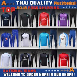 Wholesale Red Black Sweat Pants - Soccer tracksuits 17 18 Best quality survetement football Marseille Real Madrid training suit sweat top chandal soccer jogging football pant
