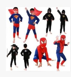 Wholesale Cosplay Spiderman Costume - Halloween Kids Cosplay costume Bat costume for 2016 new kid Spiderman Super hero Zorro cosplay Costumes